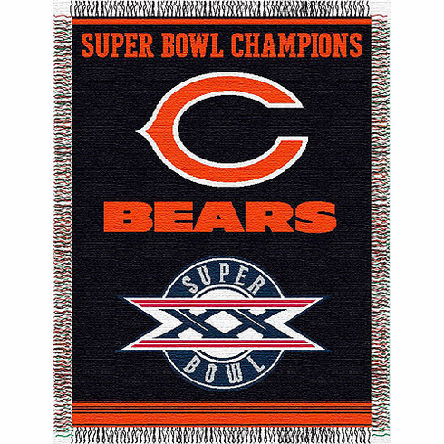 Chicago Bears Super Bowl Commemorative Woven Tapestry Throw