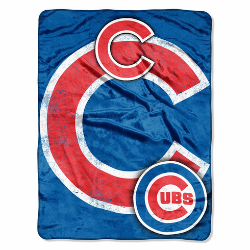 Chicago Cubs Royal Plush Raschel Blanket