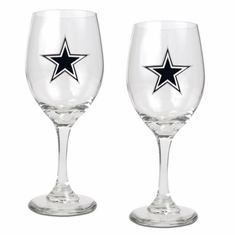 Dallas Cowboys 2pc Wine Glass Set