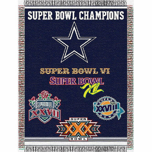 Dallas Cowboys Super Bowl Commemorative Woven Tapestry Throw