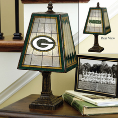 Green Bay Packers 14 inch Art-Glass Table Lamp - BACKORDERED