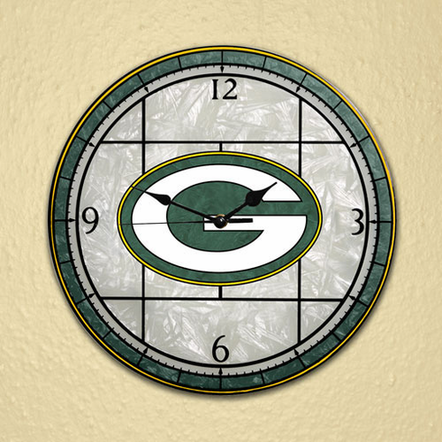 Green Bay Packers Art Glass Clock - BACKORDERED