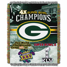 Green Bay Packers Super Bowl Commemorative Woven Tapestry Throw