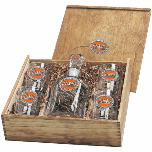 Illinois Fighting Illini Capital Decanter Box Set