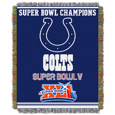 Indianapolis Colts NFL Super Bowl Commemorative Woven Tapestry Throw