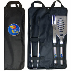 Kansas Jayhawks 3pc Stainless Steel BBQ Set w/ Bag - BACKORDERED