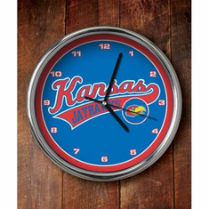Kansas Jayhawks Chrome Clock