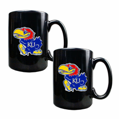 Kansas Jayhawks Two Piece Coffee Mug Set