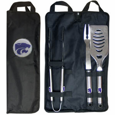 Kansas State Wildcats 3pc Stainless Steel BBQ Set w/ Bag - BACKORDERED