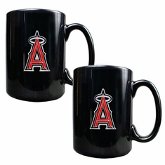 Los Angeles Angels 2pc Black Ceramic Mug Set