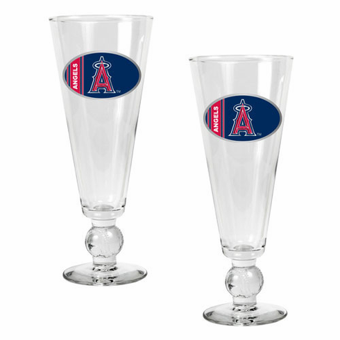 Los Angeles Angels 2pc Pilsner Glass Set with Baseball on Stem - BACKORDERED