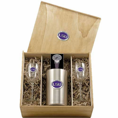 LSU Tigers Wine Set Box