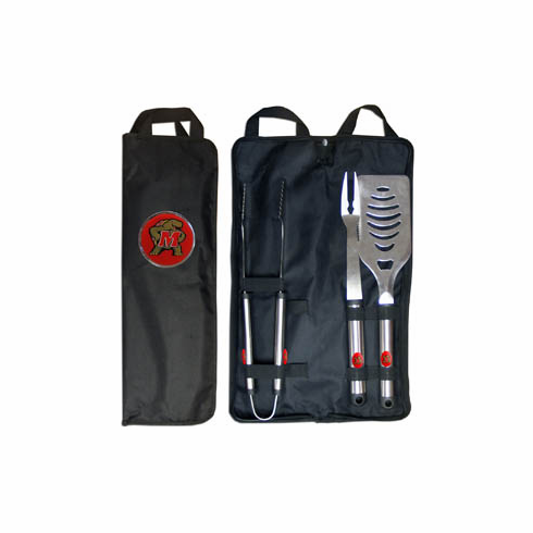 Maryland Terrapines 3pc Stainless Steel BBQ Set w/ Bag - BACKORDERED