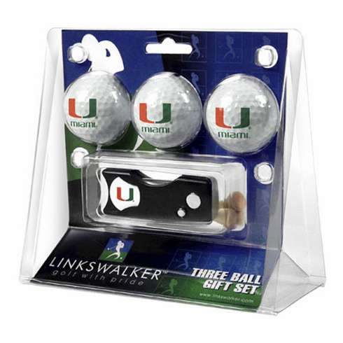 Miami Hurricanes 3 Golf Ball Gift Pack w/ Spring Action Divot Tool
