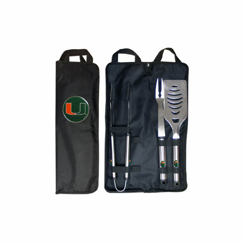 Miami Hurricanes 3pc Stainless Steel BBQ Set w/ Bag
