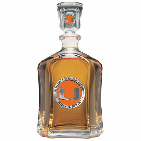 Miami Hurricanes Glass Decanter