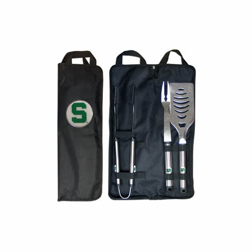 Michigan State Spartans 3pc Stainless Steel BBQ Set w/ Bag - BACKORDERED