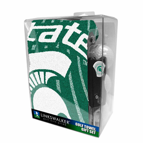 Michigan State Spartans Jacquard Golf Towel Gift Pack w/ Balls (3), Repair Tool & Marker
