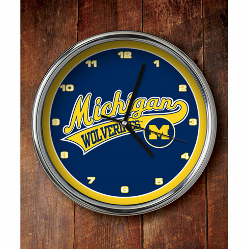 Michigan Wolverines Chrome Clock
