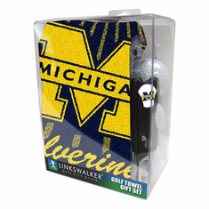 Michigan Wolverines Jacquard Golf Towel Gift Pack w/ Balls (3), Repair Tool & Marker