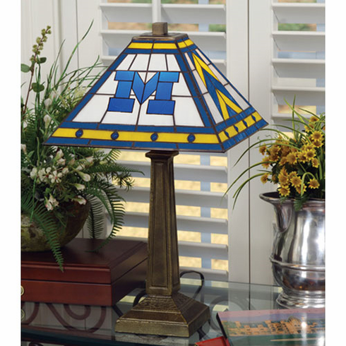 Michigan Wolverines Stained Glass Mission Style Lamp