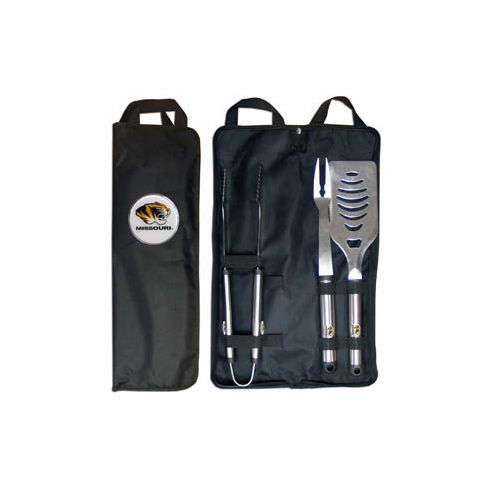Missouri Tigers 3pc Stainless Steel BBQ Set w/ Bag - BACKORDERED