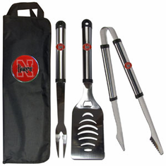 Nebraska Cornhuskers 3pc Stainless Steel BBQ Set w/ Bag - BACKORDERED