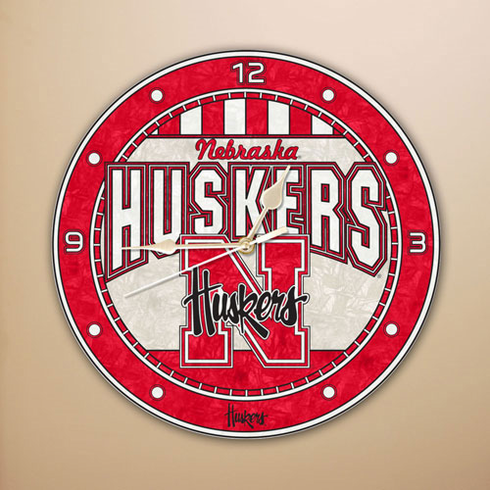 Nebraska Cornhuskers Art Glass Clock