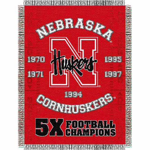 Nebraska Cornhuskers National Championship Commemorative Woven Tapestry Throw