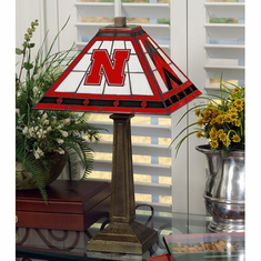 Nebraska Cornhuskers Stained Glass Mission Style Lamp
