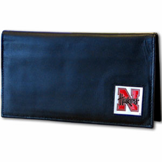 Nebraska Leather Checkbook Cover