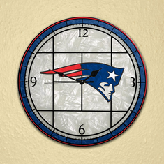New England Patriots Art Glass Clock - BACKORDERED