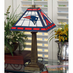 New England Patriots Stained Glass Mission Style Lamp