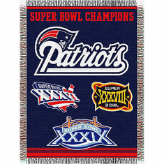 New England Patriots Super Bowl Commemorative Woven Tapestry Throw