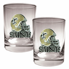 New Orleans Saints 2 Piece Rocks Glass Set