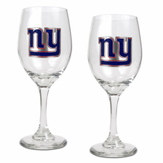New York Giants 2pc Wine Glass Set - BACKORDERED