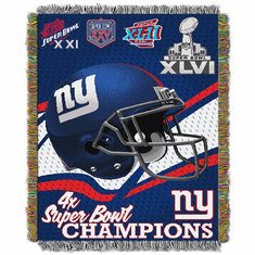 New York Giants Super Bowl Commemorative Woven Tapestry Throw