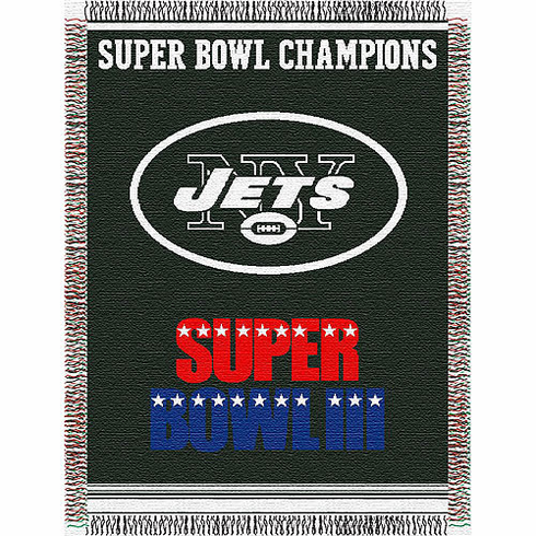 New York Jets Super Bowl Commemorative Woven Tapestry Throw