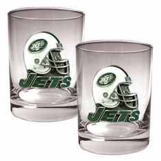 New York Jets Two Piece Rocks Glass Set - BACKORDERED