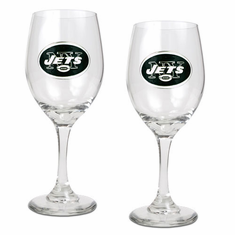 New York Jets Two Piece Wine Glass Set