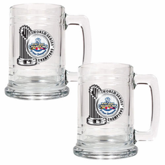 New York Yankees MLB 2009 World Series Champs 2pc 15oz Glass Tankard Set