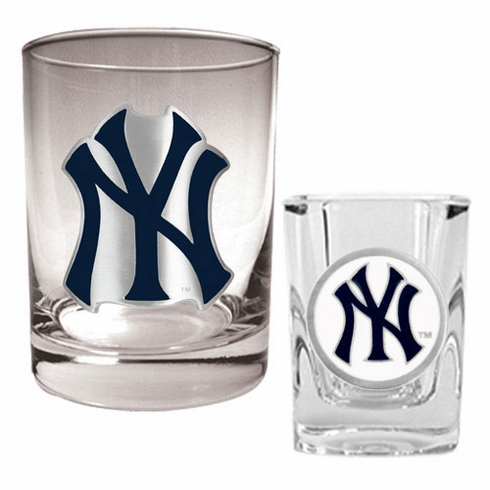 New York Yankees Rocks Glass & Square Shot Glass Set