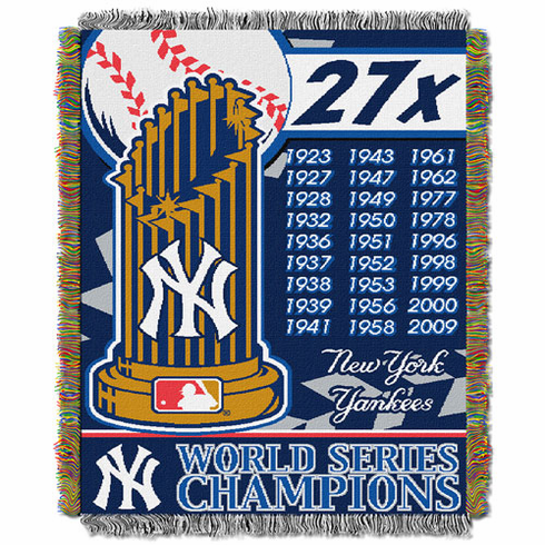 New York Yankees World Series Woven Tapestry Throw