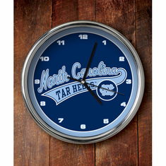 North Carolina Tar Heels Chrome Clock