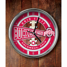Ohio State Buckeyes Chrome Clock - BACKORDERED