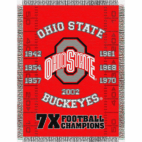 Ohio State Buckeyes National Championship Commemorative Woven Tapestry Throw