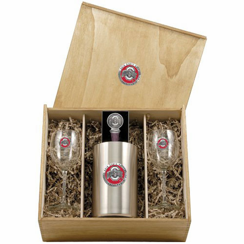 Ohio State Buckeyes Wine Set Box