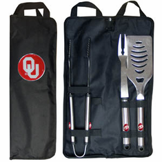 Oklahoma Sooners 3pc Stainless Steel BBQ Set w/ Bag