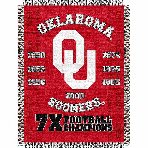 Oklahoma Sooners National Championship Commemorative Woven Tapestry Throw