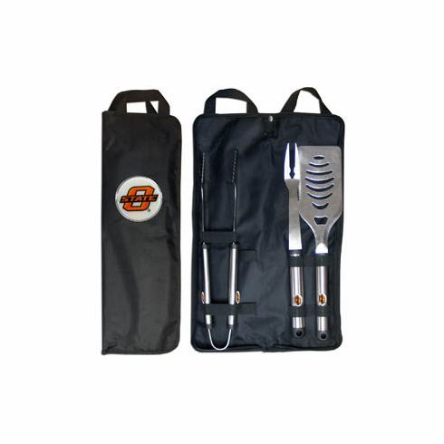 Oklahoma State Cowboys 3pc Stainless Steel BBQ Set w/ Bag - BACKORDERED